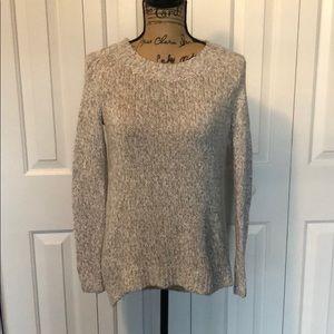 Ann Taylor LOFT Gray/White Knit Sweater